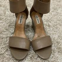 Ladies Steve Madden Beige Leather Wedge Sandals - Size 6 1/2m (Pre-Owned) Photo