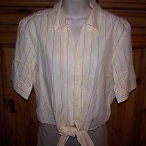 Ladies Talbots Brand Tie-Front Shirt Top Blouse Size Medium Photo