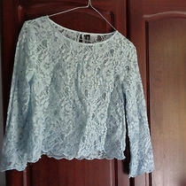Ladies Top Light Blue Lace h&m 3/4 Sleeve Size Uk 6 Photo