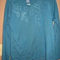 Ladies  Top    Size  S    Koret  Embroided    Aqua Photo