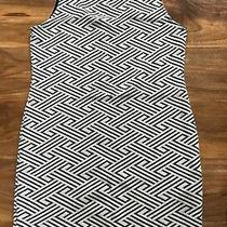 Ladies Topshop Cream and Black Aztec Print Bodycon Fitted Dress Size 10 Photo