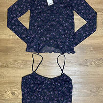 Ladies Urban Outfitters Ditsy Floral Mesh Cardigan & Cami Twin Set Size Small Photo