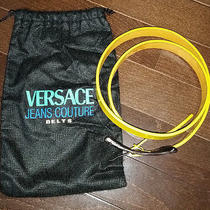 Ladies Versace Jeans Couture Belt Yellow Leather Buckle Size 44 Photo