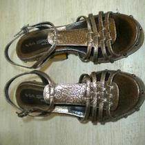 Ladies via Spiga Italy Gold Sling Back Sandals 6 M Photo