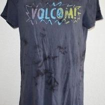 Ladies Volcom Black/gray Vintage Acid Washed Short Sleeve T-Shirt Top Size M Photo
