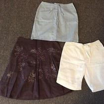 Ladies White Linen Shorts Blue Denim Purple Flower Skirt Next Bhs Bundle Size 14 Photo