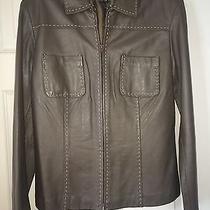 Ladies Willi Smith Grey Lamb Leather Blazer Jacket Sz M Photo