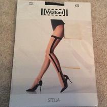 Ladies Wolford Graphic Pattern Tights - Stella - Black/black - Uk Xs - Brand New Photo