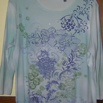 Ladies Womens Nicki Nicole Miller 100% Cotton Top 3/4 Sleeves Aqua/violet  Vguc Photo