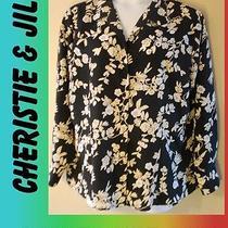 Ladies Womens Plus Size 18w Christie & Jill Black Floral Shirt Blouse Clothing Photo
