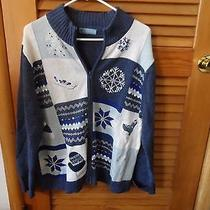 Ladies Zip Front Blue & Cream Winter Theme Cardigan Size Xl From Classic Element Photo