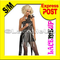 Lady Gaga Costume Rockstar Black Lightning Rocker Dress Fancy Concert Ourfit Sm Photo
