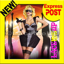 Lady Gaga Costume Rockstar Black Patent Leather Dress Fancy Concert Ourfit Sm Photo