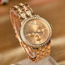 Lady Women Fashion Luxury Gold Crystal Quartz Rhinestone Crystal Wrist Watch Caf Photo