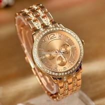 Lady Women Fashion Luxury Gold Crystal Quartz Rhinestone Crystal Wrist Watch Sh Photo