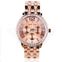 Lady Women Fashion Luxury Gold Crystal Quartz Rhinestone Crystal Wrist Watch W3l Photo