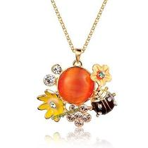 Ladybug Enamel 18k Yellow Gold Plated Swarovski Crystal Necklace N1049 Photo