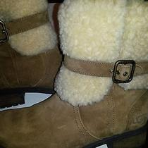 Ladys Brown Ugg Suede Boots With Buckled Shearing Cuff Size 7.5 Photo