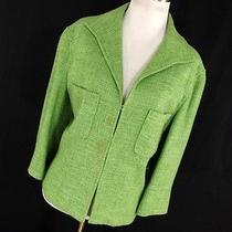 Lafayette 148 10 Jacket Spring Green Tweed Lined 3/4 Sleeve Hook Eye Closure Y3 Photo
