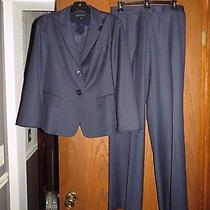 Lafayette 148 896 Navy Blue Smooth Wool Gabardine Blazer & Pants Suit 6 Photo