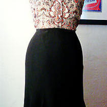 Lafayette 148 Black Skirt 8 P Petite Fitted Fluted Below the Knee Photo