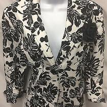 Lafayette 148 Blazer Black White Rhinestone Jacket Fitted Floral Size 6 Photo