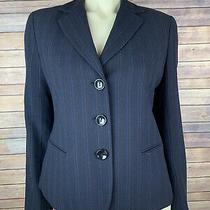 Lafayette 148 Blazer Size 6 Women's Blue Stripe Button Down Jacket Virgin Wool Photo