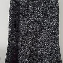 Lafayette 148 Blk/wht Fully Lined Tweed Wool Blend Fluted Mermaid Ruffle Skirt 8 Photo