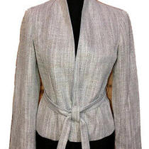 Lafayette 148 Blue Gray Woven Tie Jacket Blazer Size 2 P Photo