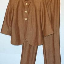 Lafayette 148 Brown Linen Wool Pants Suit 2 Pieces Blazer Size 12/pants Size 14 Photo