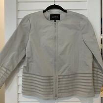 Lafayette 148 Light Gray Jacket Sz 4 Full Zip Stripe Blazer Photo