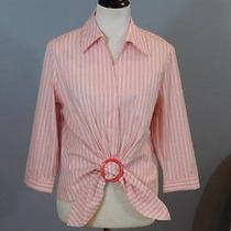 Lafayette 148 Light Red White Stripe Ring Tie Front 3/4 Sleeve Crisp Cotton 12 L Photo