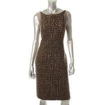 Lafayette 148 New Bronze Metallic Sleeveless Wear to Work Dress 4 Bhfo Photo