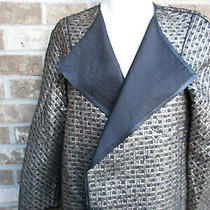 Lafayette 148 New York Cropped Jacket Blazer Black/metallic Gold Sz M Nwt Photo