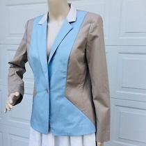 Lafayette 148 New York Sz 4 Xs Beige Blue Jacket Blazer Coat Blue Stretch Cotton Photo