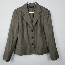 Lafayette 148 New York Womens Blazer Jacket Size 14 Brown Wool Button Down Work Photo