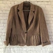 Lafayette 148 New York Womens Brown Linen Virgin Wool Blazer Jacket - Size 12 Photo