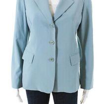 Lafayette 148 New York Womens Two Button Blazer Blue Size 4 Photo
