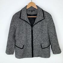 Lafayette 148 New York Wool Cashmere Black Tweed Zip Blazer Jacket Size 6 Photo