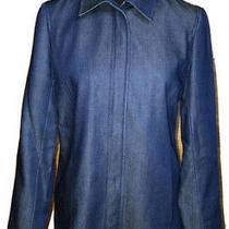 Lafayette 148 Ny Womens Blazer Jacket Lyosel Wool Dark Shiny Blue Denim P 6 Photo