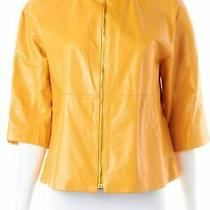 Lafayette 148 Ny Yellow Leather Military Jacket Sz 8 650178 Photo