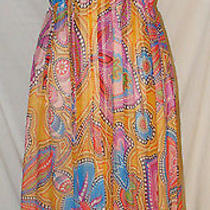 Lafayette 148 Size 6 Bright Colorful Abstract Floral Dot Silk Empire Waist Dress Photo