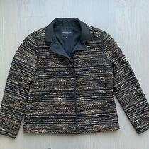 Lafayette 148 Size Medium Tweed Metallic Black Gold Jacket Blazer Holiday Euc  Photo