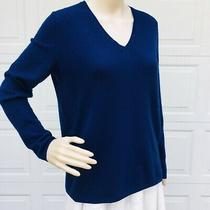 Lafayette 148  Sz 4 S Small  Blue 100% Cashmere Sweater Tunic Top v-Neck Relaxed Photo