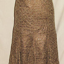 Lafayette 148 Sz 8 M Copper Metallic Trumpet Fluted Quirky Skirt New Nwt  Photo