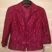 Lafayette 148 Textured Silk Blazer Jacket Hot Pink Hook Eye Floral Size 4 Nwt Photo