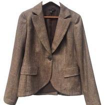 Lafayette 148 Woman Tweed Wool Blend Blazer One Button Brown. Size 8 Photo