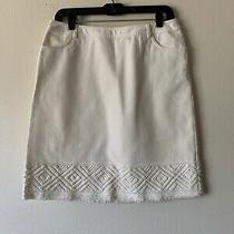 Lafayette 148 Womens Knee Length Skirt Side Zip Pockets White Denim Size 4 Photo