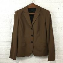 Lafayette 148 Womens Blazer Size 8 Brown 3 Button Wool/elastane Photo