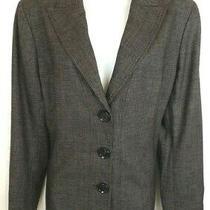 Lafayette 148 Womens Jacket Blazer Size 12 Brown 3 Button Lined Long Sleeve Wool Photo